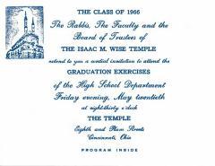 Issac M. Wise Temple 1966 Graduation Exercises Program