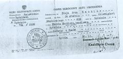 Szaja Aron Knobler - birth certificate