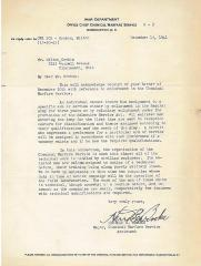 Letter from US War Department – Office Chief Chemical Warfare Department Regarding Milton's Orchin's Inquiry of Enlisting in the US Army's Chemical Warfare Service