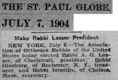 Article Regarding 1904 Election of Rabbi Avraham Gershon Lesser as President of the Agudas HaRabonim