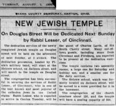Article Regarding Rabbi Lesser of Cincinnati Attending the Dedication of New Jewish Synagogue in Canton Ohio
