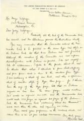 Letter from Henrietta Szold to Hon. Mayer Sulzberger Regarding a Book on Maimonides