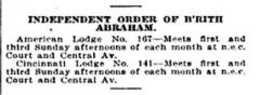 Listing of Cincinnati Lodges of Independent Order of Brith Abraham from 1922 Edition of Williams' Cincinnati City Directory
