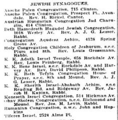 Listing of Cincinnati Synagogues from 1922 Edition of Williams' Cincinnati City Directory