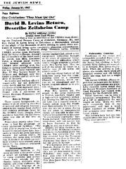 Report of 1947 Visit to Zeilsheim Displaced Persons Camp in Germany