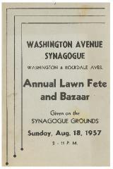 Kneseth Israel/Washington Avenue Synagogue - Annual Lawn Fete and Bazaar - 1957