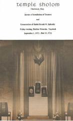 Temple Sholom Program for the Installation of Trustees and Consecration of Rabbi Donald M. Splansky, 1972 (Cincinnati, OH)