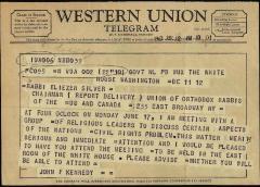 Telegram from President John F. Kennedy to Rabbi Eleizer Silver in 1963 re: Civil Rights Meeting