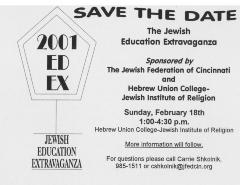 """Save the Date for """"The Jewish Extravaganza"""" Sponsored by the Jewish Federation of Cincinnati and Hebrew Union College (Cincinnati, OH)"""