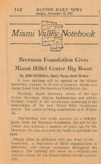 Article re: the $100,000 Grant from the Beerman Foundation towards the building of the Miami University Hillel Center, 1973