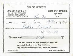 Aged Asylum, Home for the Aged (Petah Tiqua, Israel) - Contribution Receipt, 1973