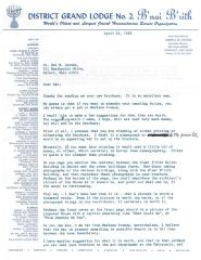 From Donald W. Harris to Dr. Dan Jacobs Re: Brochure Suggestions, 1968