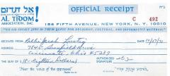 Al Tidom! (New York, New York) - Contribution Receipt (no. C492), 1971