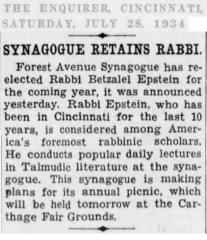 Article Regarding Hiring of Rabbi Betzalel Epstein by Forest Avenue Synagogue (Cincinnati, Ohio)