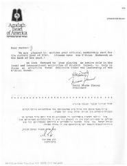 Agudath Israel of America (New York, New York) - Letter re: Membership Card, 1987