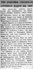 Article on the 1927 Installation of Rabbi Chaim Fishel Epstein as Rabbi of Kneseth Israel Congregation