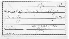 Beth Tvillah Sisterhood (Cincinnati, OH) - Contribution Receipt, 1971