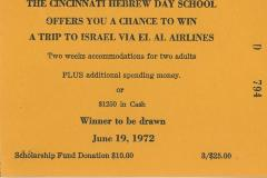 Cincinnati Hebrew Day Schools (Cincinnati, OH) - Raffle Ticket (nos. 794-799) for Scholarship Fund Raffle, 1972