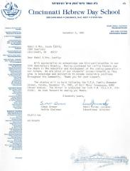 Cincinnati Hebrew Day School (Cincinnati, OH) - Letter re: Contribution and Participation in the 35th Anniversary Drawing, 1981
