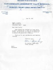 Letter re: Contribution made to Cincinnati Hebrew Day School (Cincinnati, OH), 1975