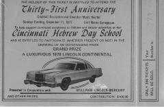 Cincinnati Hebrew Day School (Cincinnati, OH) - Raffle Ticket (no. 273, 277) for raffle held at Golf Manor Synagogue, 1977