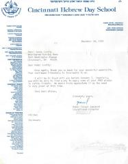 Cincinnati Hebrew Day School (Cincinnati, OH) - Letter re: Contribution Made, 1985