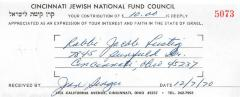 Cincinnati National Jewish Fund (Cincinnati, OH) - Contribution Receipt (no. 5073), 1970