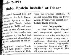Article regarding Rabbi Betzalel Epstein Installed as Rabbi of Beth Hamidroth Hagodol (Cincinnati, Ohio)