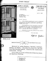 "Kosher ""Certification"" Letter & Ads by Rabbi Betzalel Epstein for the Electrolux Refrigerator"