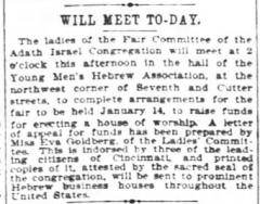 Articles Regarding 1895 / 1896 Acquiring of new Synagogue for of Adath Israel Congregation (Cincinnati, Ohio)