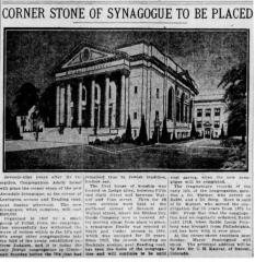 Article Regarding Cornerstone Laying of New Adath Israel Congregation Building on Lexington Avenue and Reading Road - Cincinnati, Ohio.  1926
