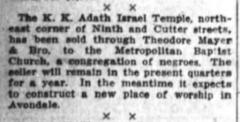 Articles Regarding 1916 Move of Adath Israel Congregation from Downtown Cincinnati to Avondale, Cincinnati, Ohio