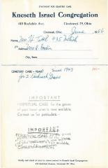 Statement for Mrs. H. Tavel for Cemetery Care for the Kneseth Israel Congregation Cemetery, 1956 (Cincinnati, Ohio)