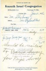 Statement for Lilly Sway for Cemetery Care for the Kneseth Israel Congregation Cemetery, 1956 (Cincinnati, Ohio)