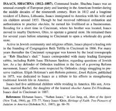Bio of Reb Schachne Isaacs from Orthodox Judaism in America: A Biographical Dictionary and Sourcebook