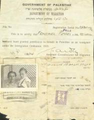 Palestine Immigration Document