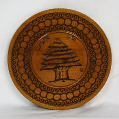 Decorative Wooden Plate Depicting Cedar Tree from Milton Orchin's Personal Collection