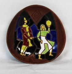 Hand painted, Small Brown Dish Depicting 2 Figures