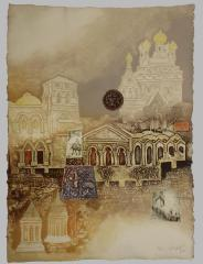 "Signed intaglio by Mikulas Kravjansky titled ""Jerusalem Suite,"" 1982"