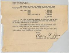 Letter from 1941 to Kneseth Israel Congregation (Cincinnati, Ohio) Regarding its Debt to the VAAD Hoier of Cincinnati