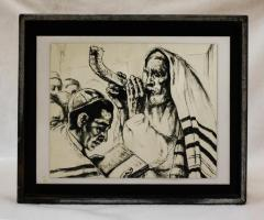 Mounted Print of Man blowing a Shofar, produced by Turner Manufacturing Co.