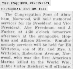 Norwood Synagogue Memorial Services for Eli Wittstein, their Member who was 1st Marine Killed in WWI