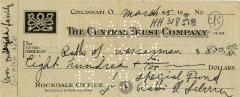 Check for $800 to Rabbi Wasserman from Rabbi Eliezer Silver, 1941