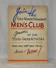 Sign Advertising the Golf Manor Synagogue Men's Club