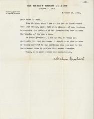 Letter of Appreciation to Rabbi Eliezer Silver from Dr. Abraham Cronbach, Department of Social Studies, Hebrew Union College, Cincinnati – October 10, 1948.