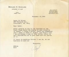 Letter to Rabbi M. Scheff in Jerusalem, 1943