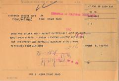 Telegram from Rabbi Eliezer Silver to Rober Taft JR