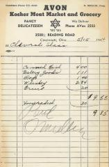 Receipt for Chevrah Shaas from Avon Kosher Meat Market and Grocery for $9.85, 1944