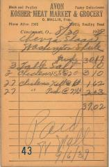 Receipt for Chevra Shaas from Avon Kosher Meat Market for for $37.02, 1939