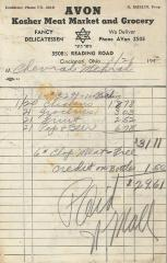 Receipt for Chevrah Shaas from Avon Kosher Meat Market and Grocery for $31.11, 1943